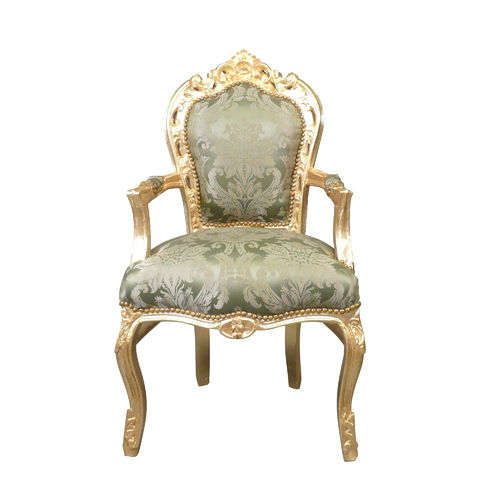 Baroque armchair with a green fabric