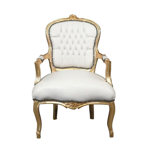 Louis XV armchair white and gilded baroque style