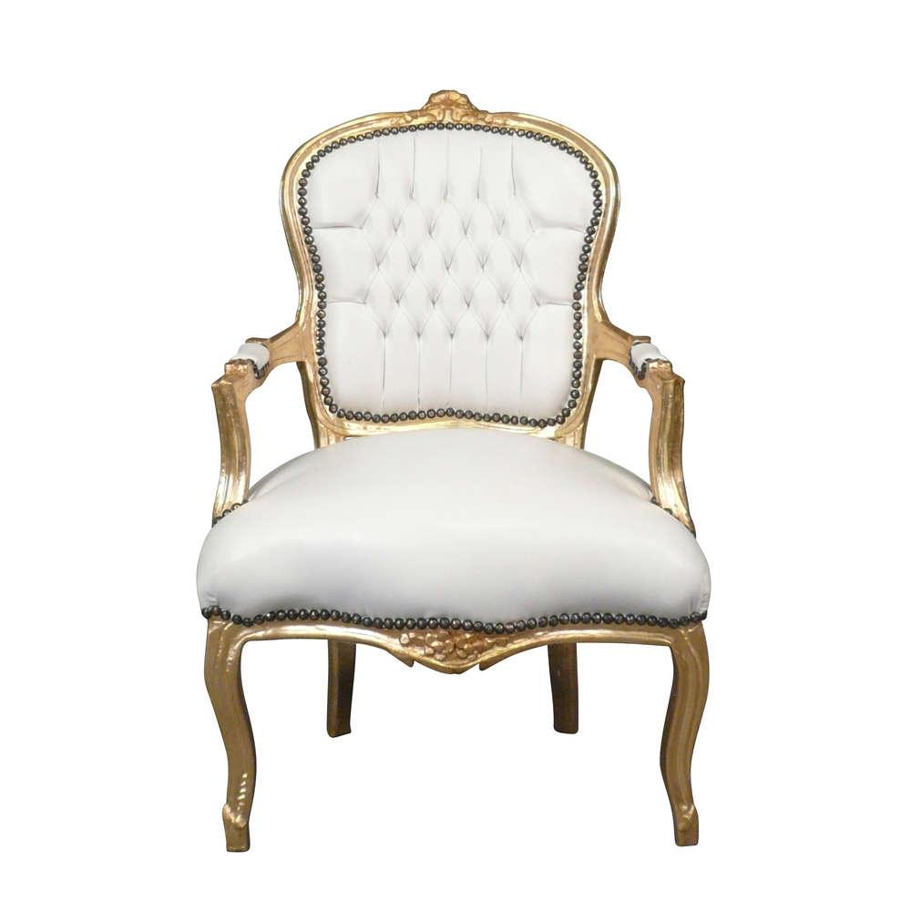Poltrona Luigi XV bianco e dorata in stile barocco - Mobili in stile ...