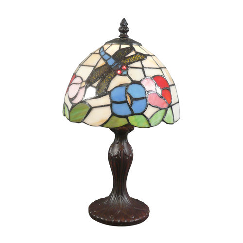 Small dragonfly Tiffany lamp with white background