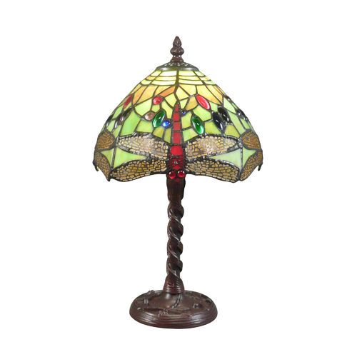 Tiffany lamp with green stained glass window with dragonflies