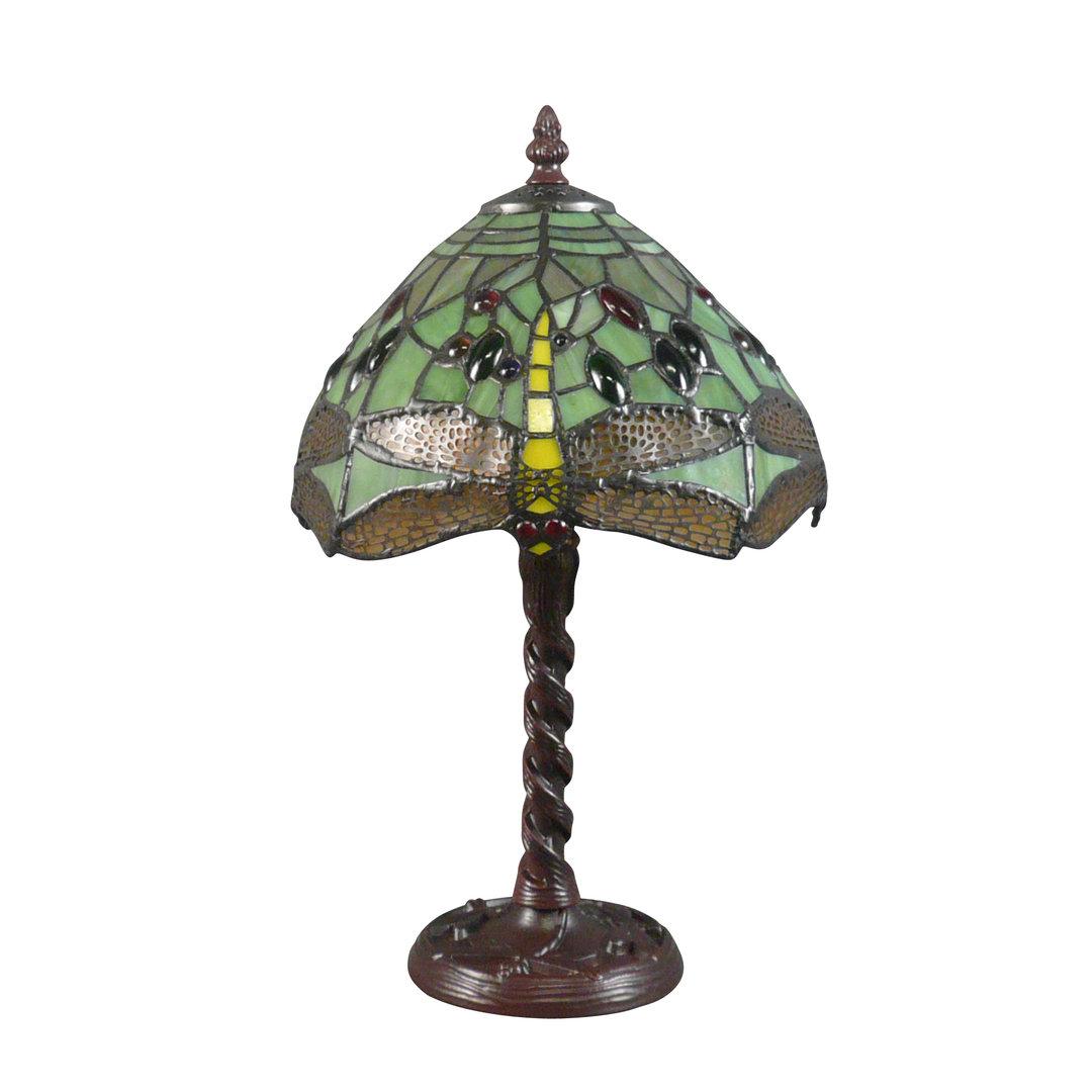 lampe tiffany au vitrail vert avec des libellules luminaires art nouveau. Black Bedroom Furniture Sets. Home Design Ideas