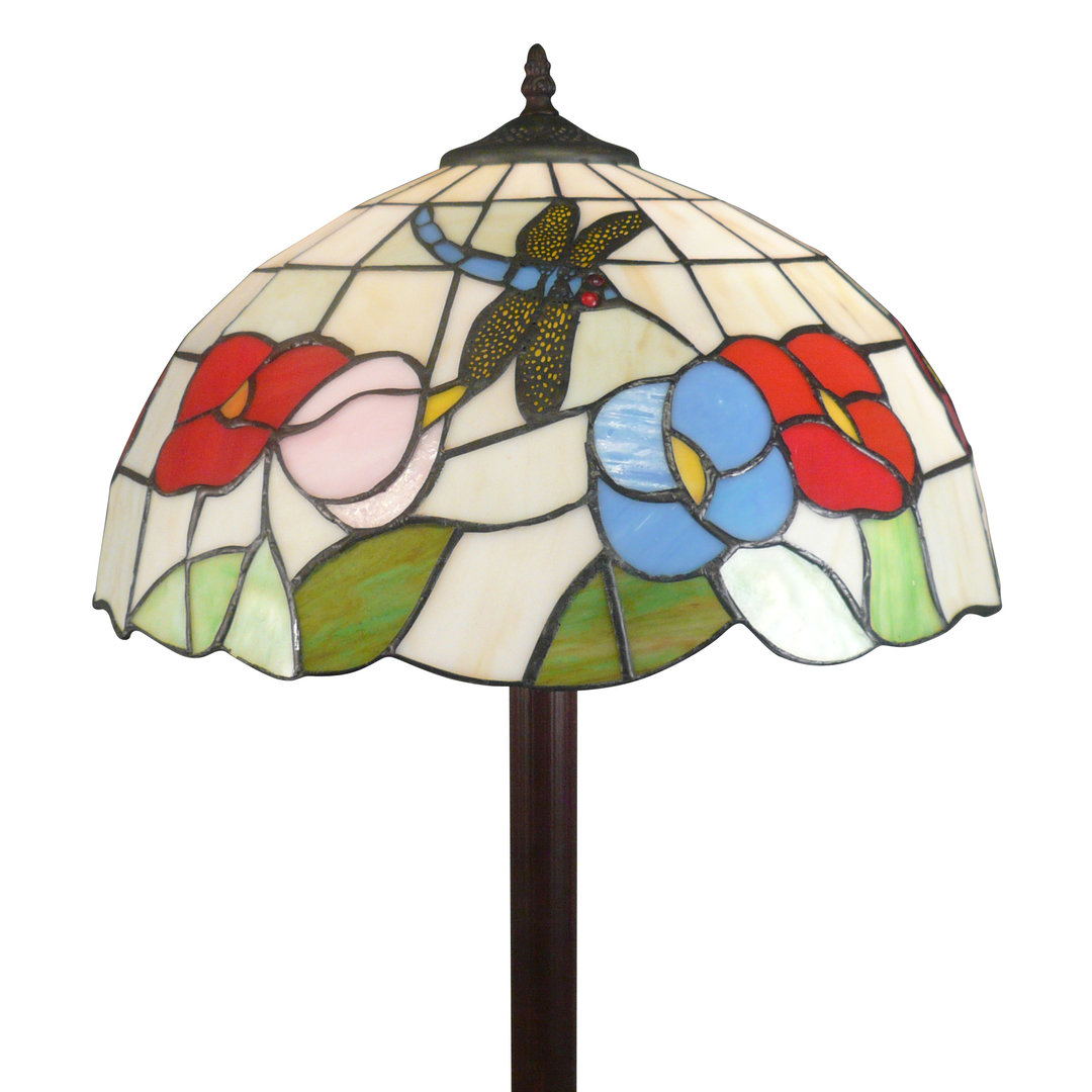 Tiffany Dragonfly Floor Lamp With White Background Glass Luminaire
