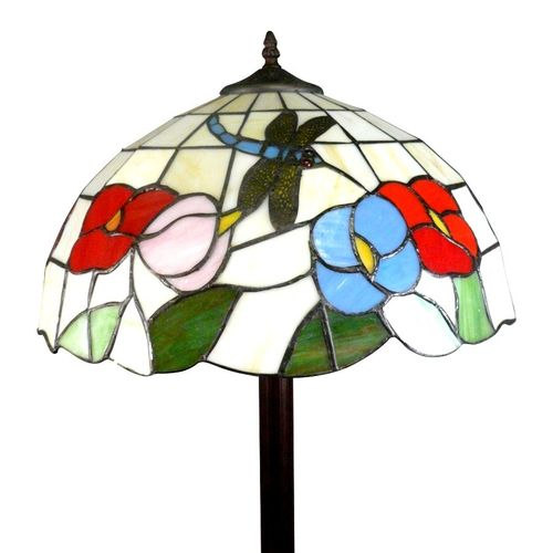Tiffany Dragonfly Floor Lamp with White