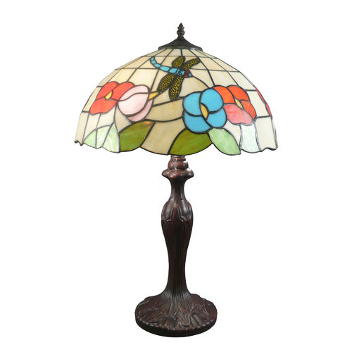 Tiffany Dragonfly Style Lamp with White Background