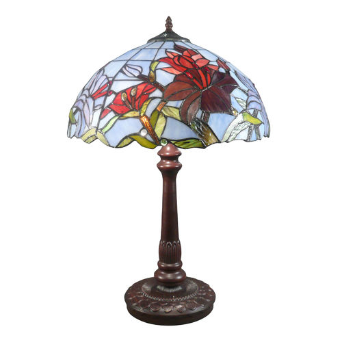 Tiffany lamp with a stained glass window decorated with tulips