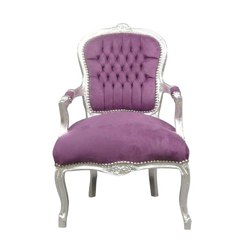 Louis XV armchair in purple velvet