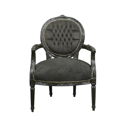 Louis XVI armchair black velvet