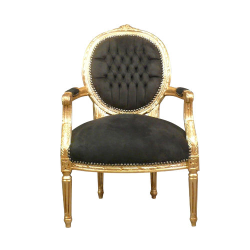 Louis XVI armchair gilt wood and black velvet