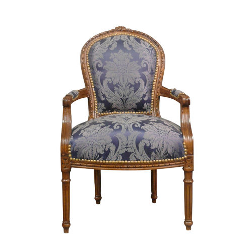 Louis XVI armchair in blue satin fabric