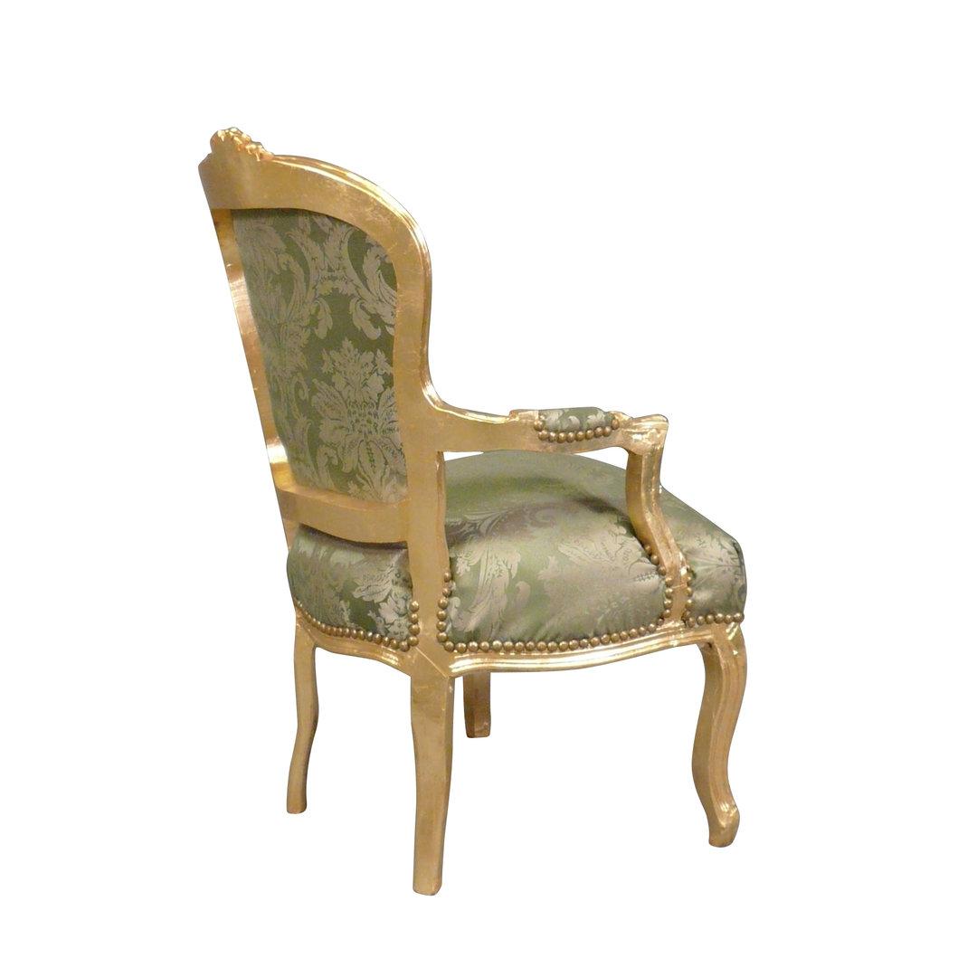 Fauteuil Louis XV vert en bois doré Meubles de style Louis XV