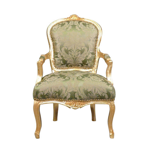 Louis XV armchair green gilded wood