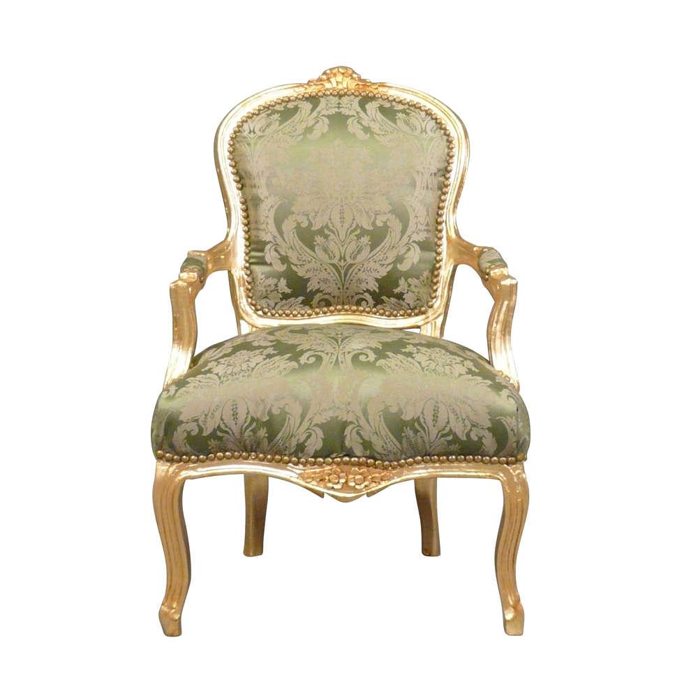 Louis Xv Armchair Green Gilded Wood