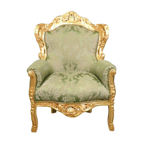 Green baroque armchair and gilded wood