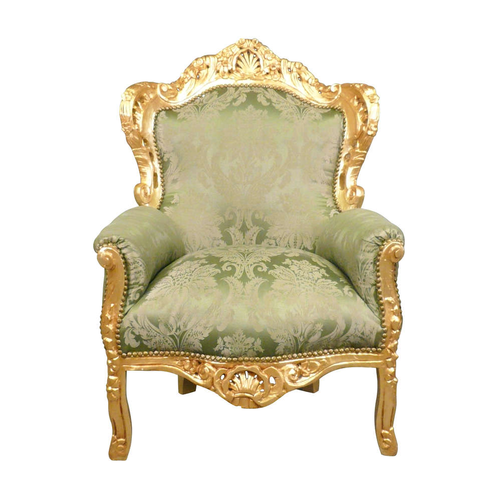 Superieur Green Baroque Armchair And Gilded Wood