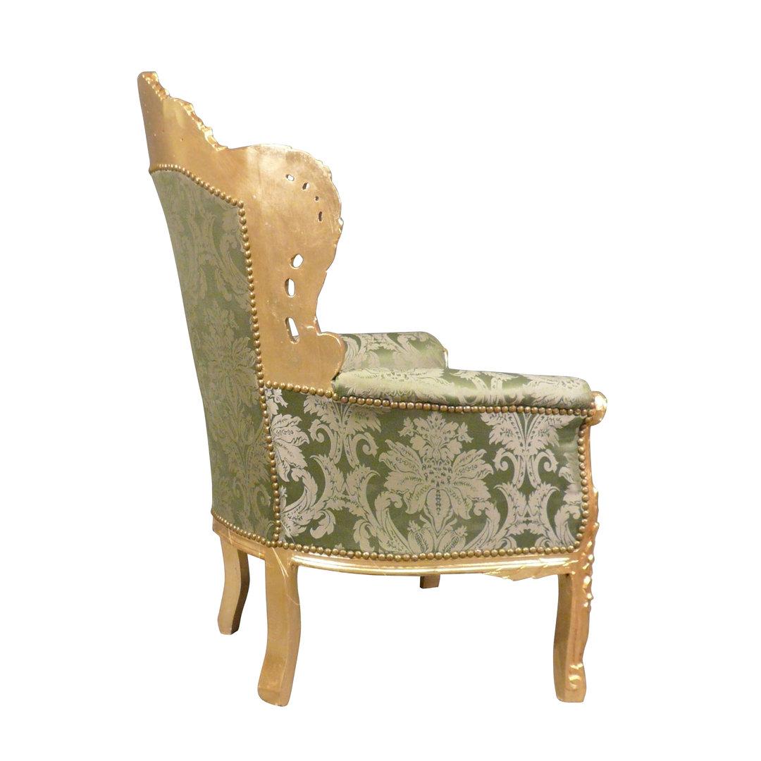fauteuil baroque vert et bois dor meubles baroques. Black Bedroom Furniture Sets. Home Design Ideas