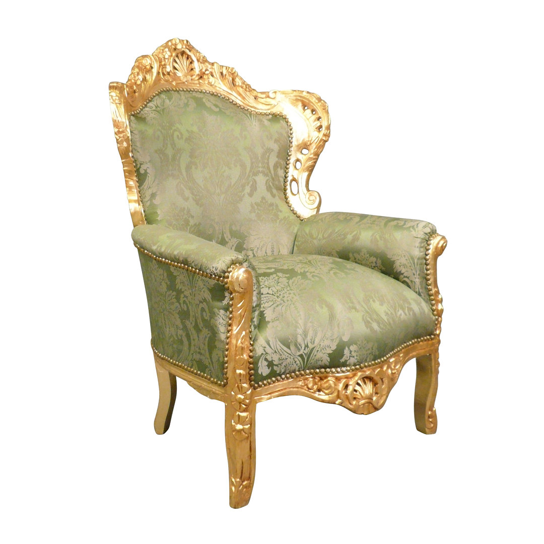 Fauteuil baroque vert et bois doré Meubles baroques