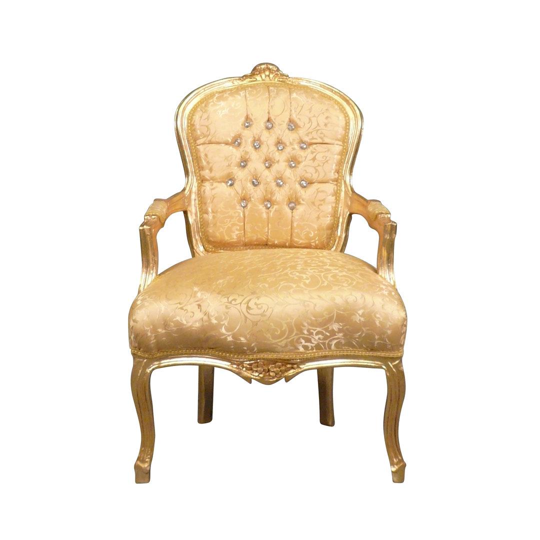 Poltrona Luigi XV in legno e tessuto dorato