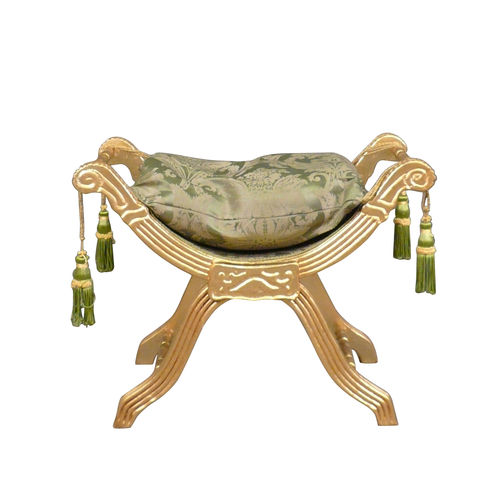 Baroque bench green in gilded wood