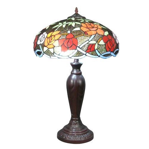 Tiffany lamp with flower decoration