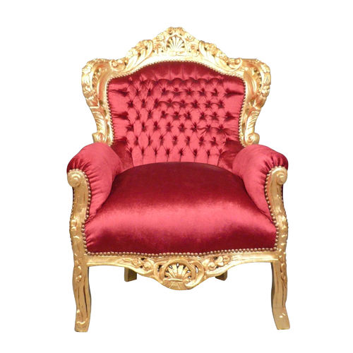 Royal Armchair in Baroque Red Velvet