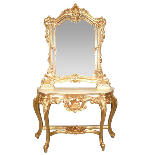 Golden Baroque Console Carved Wood