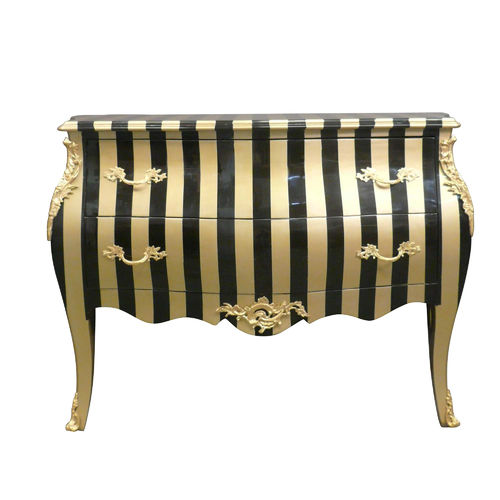 Multicolored Striped Baroque Commode