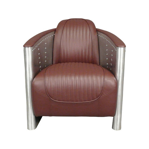 Aviator armchair brown mahogany