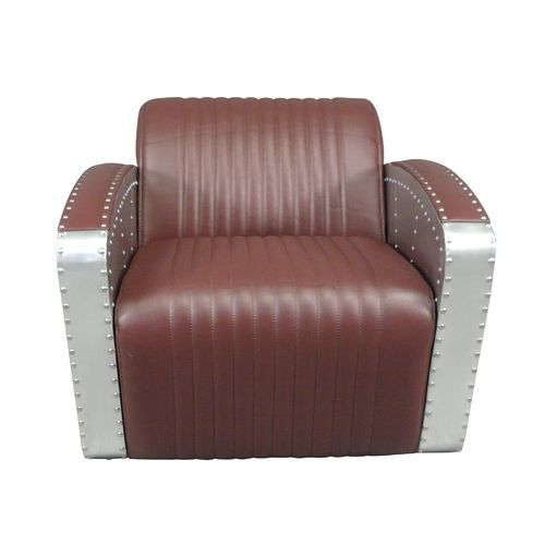 Aviator club armchair in brown mahogany