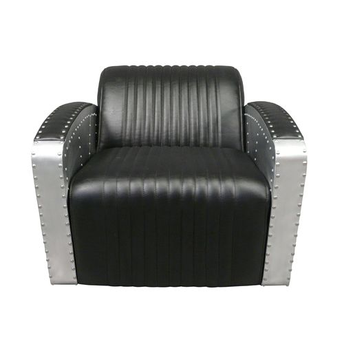 Black club style aviator armchair