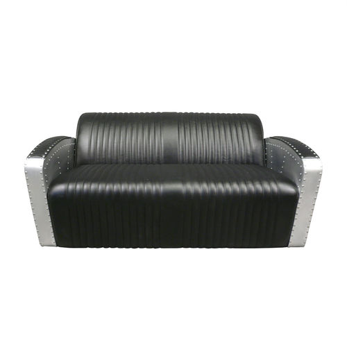 2 seater aviator black club style sofa